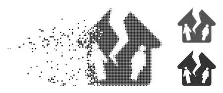 Dissolved divorce house dotted icon with disintegration effect. Halftone pixelated and undamaged whole gray variants. Dots have rectangular shape.