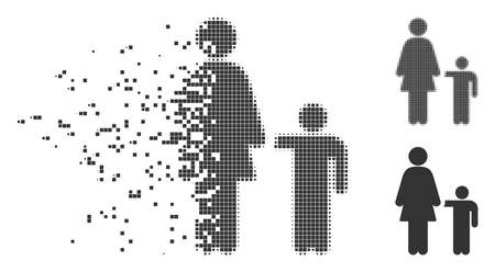 Fractured mother child pixel icon with disintegration effect. Halftone dotted and undamaged solid gray variants. Dots have square shape. Cells are arranged into dissolving mother child figure. Vectores
