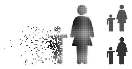 Fractured mother child dotted icon with disintegration effect. Halftone dotted and undamaged solid gray versions. Dots have rectangle shape. Pixels are combined into dissolving mother child figure. Illustration