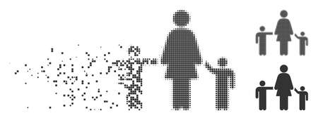 Dissolved mother children pixel icon with disintegration effect. Halftone pixelated and undamaged solid grey variants. Dots have rectangular shape.