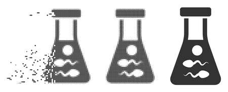 Dissolved sperm retort dotted icon with disintegration effect. Halftone dotted and undamaged entire gray versions. Dots have rectangular shape. Particles are combined into dispersed sperm retort form.