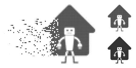Dispersed home robot pixel icon with disintegration effect. Halftone dotted and undamaged entire grey variants. Dots have rectangle shape. Pixels are grouped into dissolving home robot form.