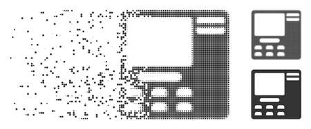 Gray vector bank ATM icon in dissolved, dotted halftone and undamaged whole versions. Square dots are used for disappearing effect. Points are composed into dispersed bank ATM figure.