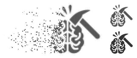 溶解した、ドット付きハーフトーンと損傷していない全バージョンの灰色のベクトル脳の影響アイコン。矩形のパーティクルは、消失効果に使用されます。