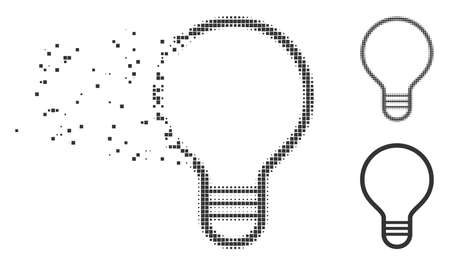 Gray vector bulb icon in dispersed, pixelated halftone and undamaged solid versions. Square dots are used for disappearing effect. Fragments are combined into dispersed bulb form.