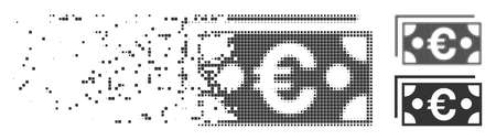 Gray vector Euro banknotes icon in dissolved, dotted halftone and undamaged whole variants. Rectangle particles are used for disappearing effect.