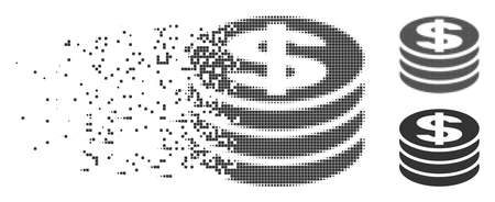 Grey vector dollar coin column icon in dispersed, pixelated halftone and undamaged entire versions. Square particles are used for disappearing effect.