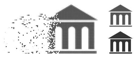 Gray vector museum building icon in fractured, dotted halftone and undamaged solid variants. Rectangular particles are used for disintegration effect.