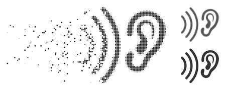 Grey vector listen icon in fractured, pixelated halftone and undamaged solid variants. Rectangle particles are used for disappearing effect. Particles are composed into dispersed listen icon.