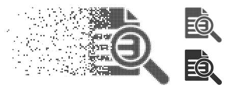 Gray vector search document icon in dissolved, dotted halftone and undamaged whole variants. Square dots are used for disappearing effect. Fragments are grouped into dissolving search document symbol.