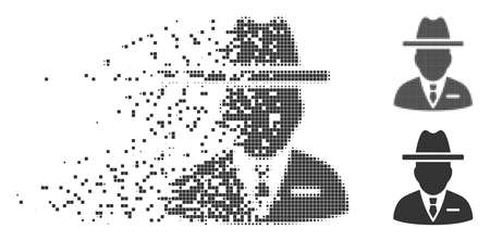 Grey vector spy person icon in dispersed, dotted halftone and undamaged solid versions. Square dots are used for disappearing effect. Cells are combined into dissipated spy person shape.
