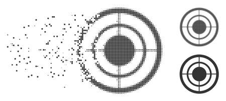 Grey vector target icon in dispersed, dotted halftone and undamaged whole versions. Square dots are used for disappearing effect. Pieces are arranged into dissolving target figure.
