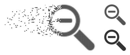 Grey vector zoom out icon in dispersed, pixelated halftone and undamaged whole variants. Rectangular particles are used for disintegration effect. Pixels are combined into dissipated zoom out shape.