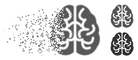 Fractured brain pixel icon with disintegration effect. Halftone dotted and undamaged whole gray versions. Dots have square shape. Fragments are organized into dispersed brain form.