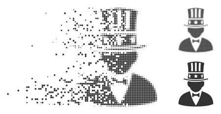 Dissolved capitalist pixel icon with disintegration effect. Halftone pixelated and undamaged whole gray versions. Dots have rectangular shape. Fragments are organized into dissolving capitalist form. Illustration