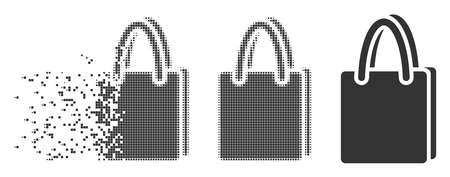 Dispersed shopping bag pixel icon with disintegration effect. Halftone pixelated and undamaged solid grey variants. Dots have rectangle shape. Pixels are composed into dispersed shopping bag shape.