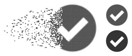 Dissolved OK dotted icon with disintegration effect. Halftone pixelated and intact entire grey variants. Dots have rectangle shape. Particles are arranged into dissolving OK figure.