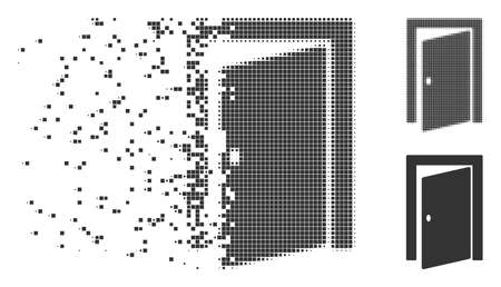 Gray vector door icon in dispersed, pixelated halftone and undamaged whole variants. Disintegration effect uses square dots. Fragments are grouped into dispersed door form.