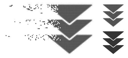 Grey vector downloads direction icon in fractured, pixelated halftone and undamaged entire versions. Disappearing effect uses rectangle dots.