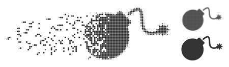 Grey vector bomb icon in dispersed, pixelated halftone and undamaged entire versions. Disintegration effect uses rectangular particles. Pieces are organized into disappearing bomb pictogram.