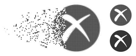 Grey vector delete icon in dissolved, dotted halftone and undamaged solid versions. Disintegration effect involves rectangle particles. Elements are arranged into dissipated delete icon.