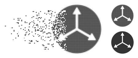 Grey vector 3d isometry directions icon in fractured, pixelated halftone and undamaged whole versions. Disappearing effect uses square dots.