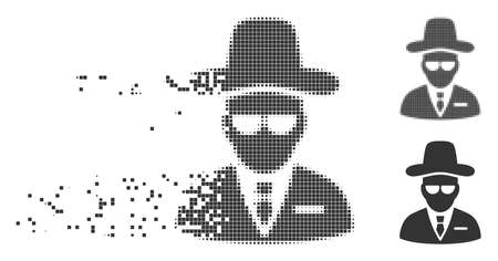 Gray vector agent icon in dispersed, pixelated halftone and undamaged whole variants. Disintegration effect involves square particles. Pieces are composed into dissipated agent form. Ilustração