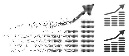 Grey vector coins diagram icon in dissolved, dotted halftone and undamaged entire versions. Disappearing effect involves square particles. Cells are organized into dissipated coins diagram pictogram. Illustration