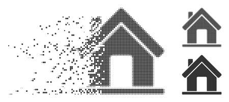 Gray vector home icon in dissolved, dotted halftone and undamaged whole variants. Disintegration effect involves rectangle dots. Particles are combined into dispersed home figure.