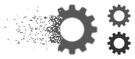 Grey vector gear icon in fractured, dotted halftone and undamaged solid versions. Disintegration effect involves rectangle dots. Particles are grouped into dispersed gear figure.