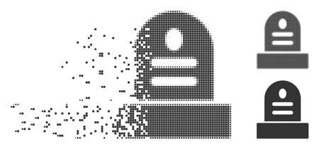 Grey vector grave stone icon in fractured, pixelated halftone and undamaged whole variants. Disintegration effect involves square dots. Pixels are combined into dissipated grave stone pictogram.