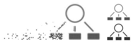 Gray vector hierarchy icon in fractured, dotted halftone and undamaged solid versions. Disintegration effect involves square particles. Cells are arranged into disappearing hierarchy figure.