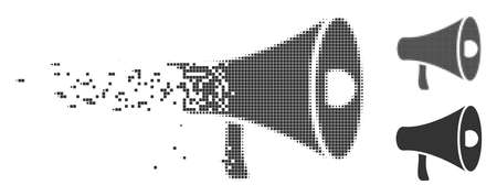 Grey vector megaphone icon in dispersed, pixelated halftone and undamaged solid variants. Disappearing effect involves rectangular dots. Fragments are grouped into disappearing megaphone form.