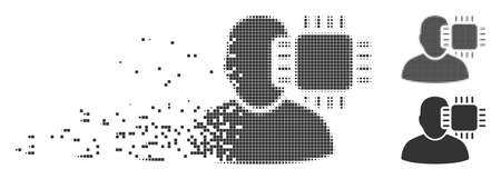 Gray vector neuro interface icon in fractured, pixelated halftone and undamaged entire versions. Disappearing effect uses rectangular particles.