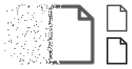 Gray vector new file icon in fractured, pixelated halftone and undamaged entire versions. Disintegration effect involves rectangle particles. Particles are grouped into dissipated new file shape.