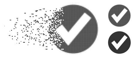Grey vector OK icon in fractured, dotted halftone and undamaged solid variants. Disintegration effect involves square dots. Particles are arranged into disappearing OK shape.