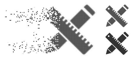 Gray vector pen and ruler design tools icon in dispersed, dotted halftone and undamaged whole variants. Disappearing effect involves rectangle particles. Illustration