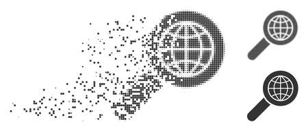 Grey vector search globe place icon in dispersed, pixelated halftone and undamaged whole versions. Disintegration effect uses rectangular dots.