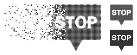 Gray vector stop banner icon in fractured, dotted halftone and undamaged solid versions. Disintegration effect uses rectangular dots. Pixels are composed into dispersed stop banner form.