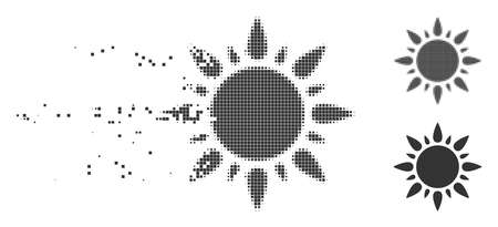 Grey vector sun light icon in dispersed, dotted halftone and undamaged whole versions. Disappearing effect uses rectangle dots. Elements are arranged into disappearing sun light icon.