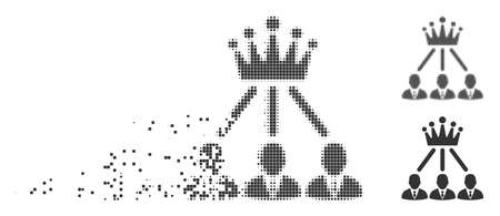 Gray vector administration crown icon in dissolved, pixelated halftone and undamaged solid variants. Rectangular particles are used for disintegration effect.