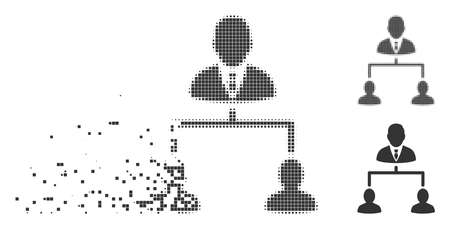 Gray vector human hierarchy icon in fractured, pixelated halftone and undamaged whole variants. Rectangular particles are used for disappearing effect. Illustration