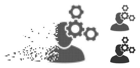 Gray vector mechanics specialist icon in dissolved, pixelated halftone and undamaged solid versions. Rectangular particles are used for disintegration effect.