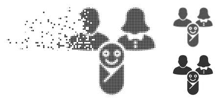 Grey vector newborn icon in fractured, pixelated halftone and undamaged entire versions. Square particles are used for disintegration effect. Illustration