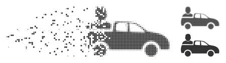 Grey vector car passenger icon in dissolved, pixelated halftone and undamaged whole variants. Rectangle dots are used for disappearing effect. Pieces are combined into dispersed car passenger shape.