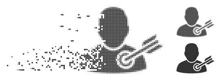 Grey vector target user icon in fractured, pixelated halftone and undamaged whole variants. Rectangular dots are used for disintegration effect.