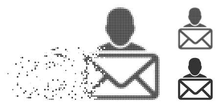Gray vector mail recipient icon in fractured, dotted halftone and undamaged whole versions. Rectangle particles are used for disintegration effect.