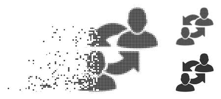 Grey vector exchange user icon in dissolved, dotted halftone and undamaged solid variants. Square dots are used for disappearing effect. Particles are grouped into disappearing exchange user shape. Reklamní fotografie - 102726631