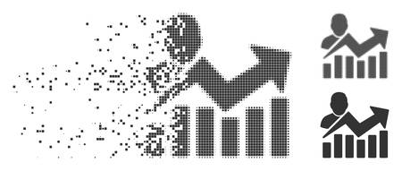 Gray vector user chart icon in dissolved, pixelated halftone and undamaged solid variants. Rectangle particles are used for disintegration effect.  イラスト・ベクター素材