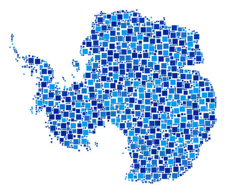 Antarctica map collage of random dots in various sizes and blue color tints. Vector rectangle items are composed into Antarctica map collage. Abstract geographical plan design concept.